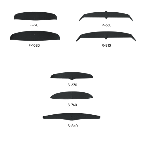 presentation de toutes les ailes de la gamme windfoil en vue de face